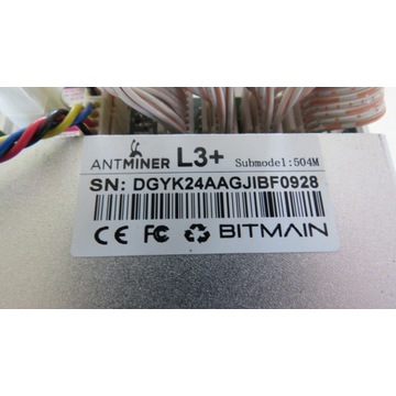 Koparka Antminer L3+ + zasilacz APW3++ 1600W