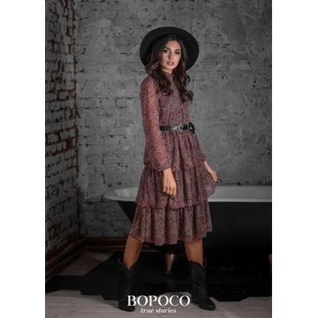 Sukienka z falbanami BOPOCO rozmiar L