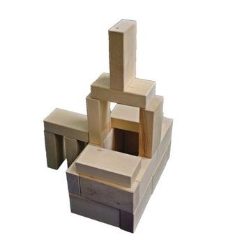 zestaw drewnianych klocków z grawerem, prezent