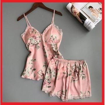 Satynowa piżama damska w kolorze PUDROWEGO RÓŻU
