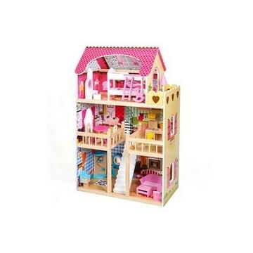 Duży domek drewniany dla lalek LED
