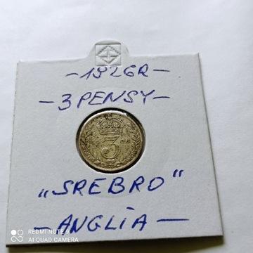 3 Pensy z 1926 roku, Anglia, Rzadka, SREBRO.