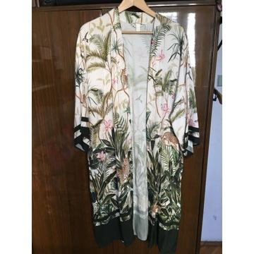 Narzutka kimono print nadruk h&m oversize kwiaty S