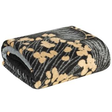 Koc bawełniany PEONIA 3 czarny złoty 150x200