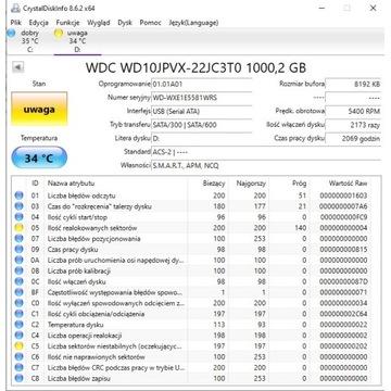 Dysk SATA WD BLue 2,5' 1TB