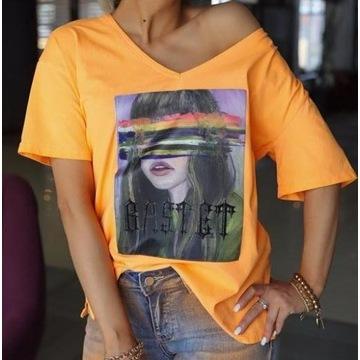 T-shirt damski neon pomarańczowy Bastet rozmiar L