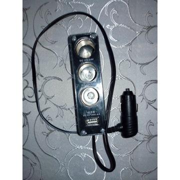 Rozgałęziacz gniazda zapalniczki 12/24V + port USB