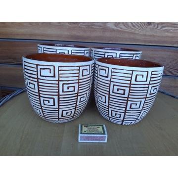 Komplet 4 ceramicznych  etnicznych doniczek