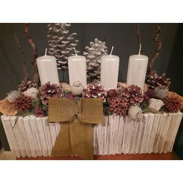 Stroiki świąteczne,święta,stroik,drewniana doniczk