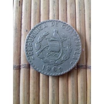 moneta 25 centavos 1969 Gwatemala