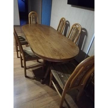 Stół solidny, dąb, rzeźbione nogi, 200-280x90