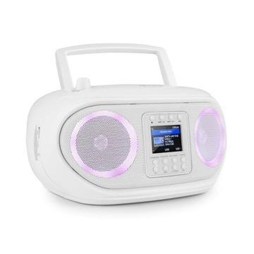BIAŁY Boombox+radio internetowe+światłaLED+WI-FI