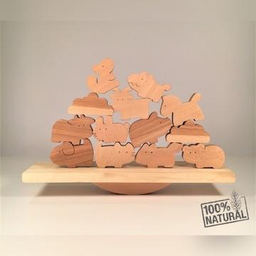 AMAMI drewniane zabawki. Balansujące zwierzaki.