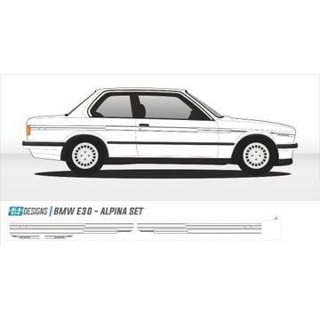 Dekory BMW E30 - naklejki Alpina b6 cult tuning