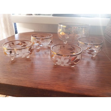 Zestaw duża miska miseczki szklane złote zdobienia