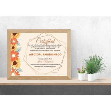 Certyfikat dyplom wieczór panieński panna młoda