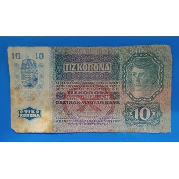 Banknot Austro-Węgry  , 10 Koron 1915 Z NADRUKIEM