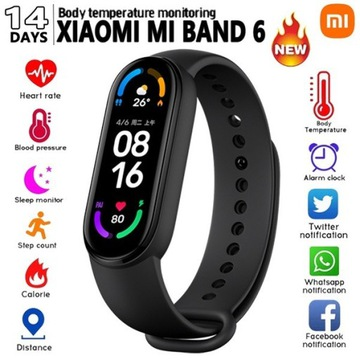 OPASKA FITNESS NA 6+!Smartwatch Xiaomi Mi Band 6!