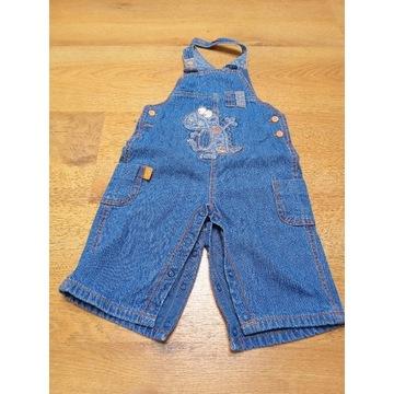 Jeansowe spodnie ogrodniczki rozpinane