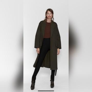 Płaszcz Zara oversize khaki r.M