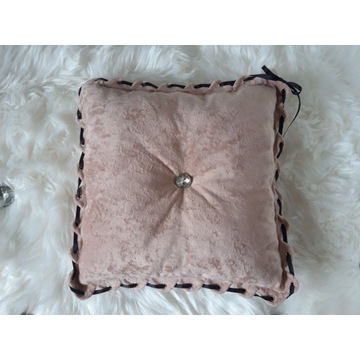 Poduszka dekoracyjna - pudrowy róż - 45x45 plusz