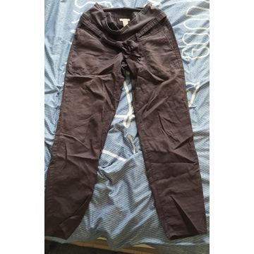 spodnie lniane ciążowe H&M mama skinny 36