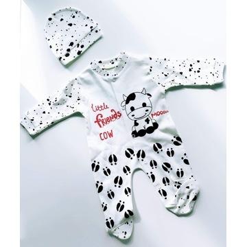 Komplecik niemowlęcy, pajacyk krówka 56 (0-3M)