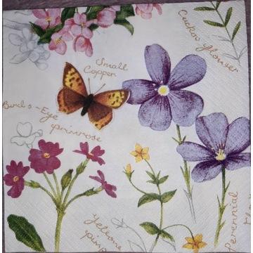 Serwetka decoupage 1 szt motyle kwiaty wiosna