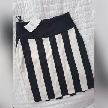 Biało - czarna spódnica w paski Mango XS 34