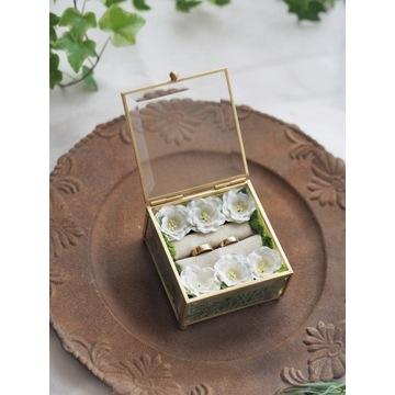 Szklana szkatułka kwadratowa złota-MECH, KWIATY