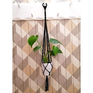 Kwietnik makrama (ze sznurka bawełnianego) wiszący