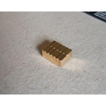 Magnesy neodymowe 5x5x2mm N42 ZŁOTE 10szt