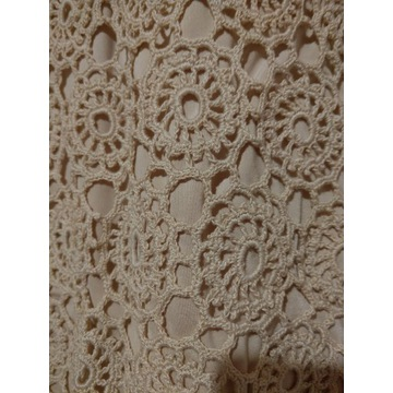 Tunika ecru, szydełkowa rękodzieło, bawełniana 40