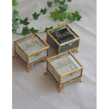 Mała szkatułka ze szkła ZŁOTA- DELUX- VELVET
