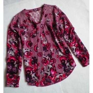NEXT koszula szyfonowa kwiaty mgiełka koronka 40 L