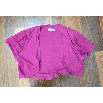 Bolerko sweterek Per Una magenta 14 z kokardką
