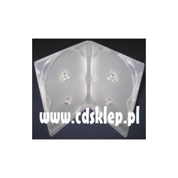 Etui plastikowe na 4 CD DVD 14mm mleczne