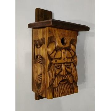 budka lęgowa, domek dla ptaków, rzeźba w drewnie