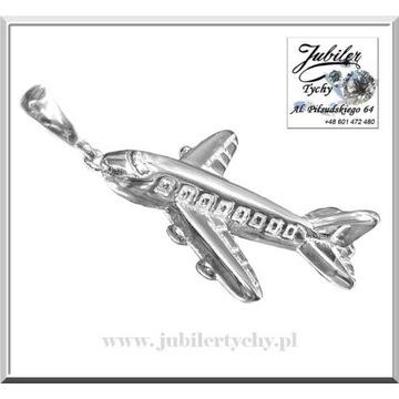 Srebrny wisiorek samolot Jubiler Tychy silver 925