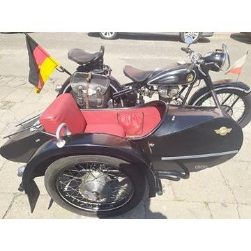 motocykl zabytkowy Avo 425T z koszem Streib Ls200