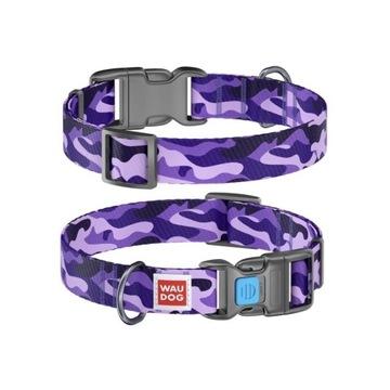 "WauDog NYLON - obroża ""Purple camo"" + Smart ID"