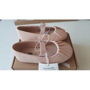Buty Zara balerinki baletki skóra roz.22