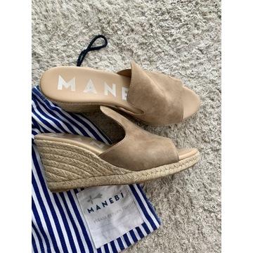 Manebi klapki buty na koturnie skóra naturalna