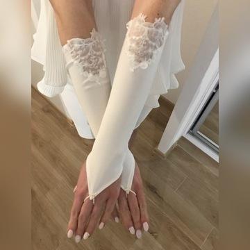 Rękawiczki ślubne bezpalcowe, TANIO!