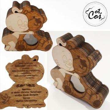 Personalizowana drewniana SKARBONKA, na Chrzest
