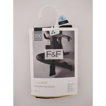 F&F rozmiar S czarne rajstopy premium 200 DEN