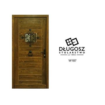 Drzwi Zewnętrzne retro góralskie wiejska chata sęk