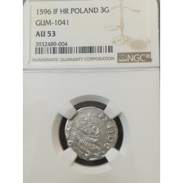 Trojak 1596 Poznań NGC AU 53 max (hybryda)