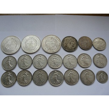 Zestaw 1, 5, 20, 50, 100 franków Srebro 0,296kg Ag