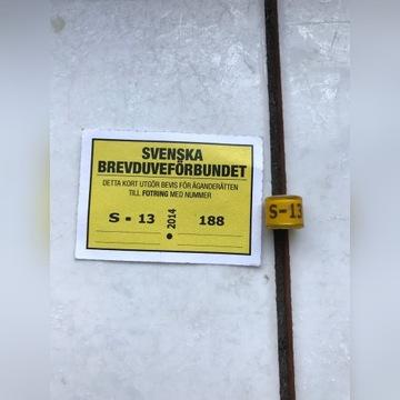 Obrączki dla gołębi -Szwecja 2012 +karta